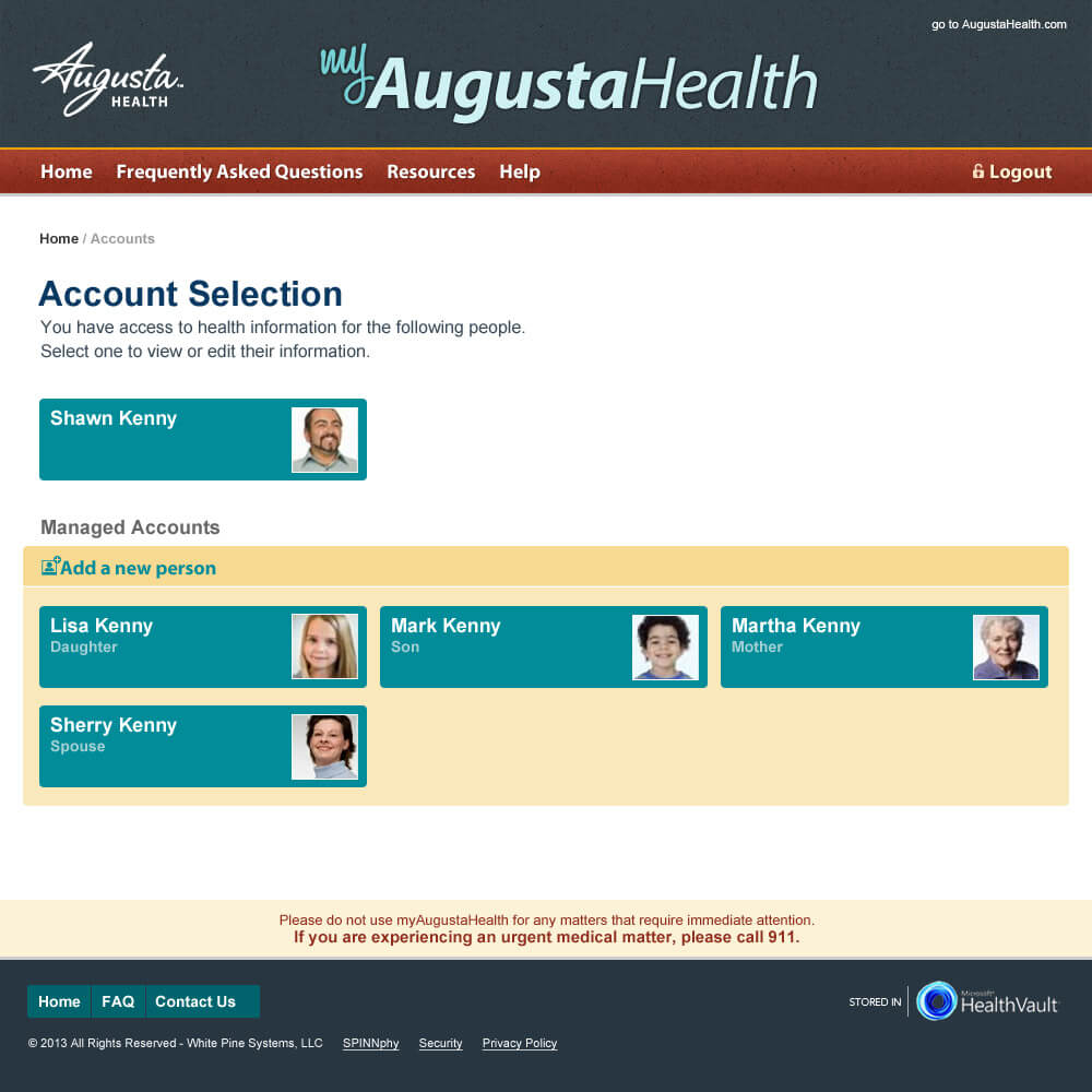 Patient Portal account selection page