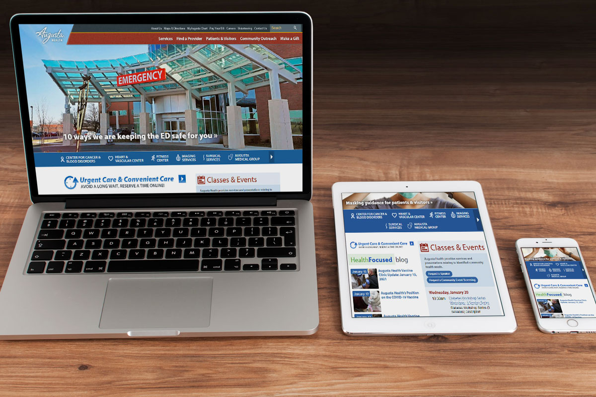 Augusta Health front page on 3 devices to show respnsiveness